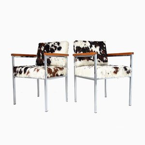 Cowhide Armchairs from Fröscher KG, 1970s, Set of 2