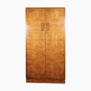 Art Deco Burl Maple Gentlemans Wardrobe, 1930s