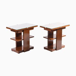 Art Deco Side Tables or Nightstands with Drawer & Shelves, 1930s, Set of 2