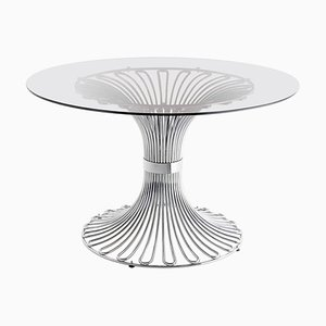 Italian Round Chrome and Smoked Glass Top Dining Table, 1960s
