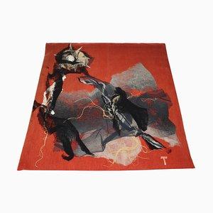 Tapiz Mid-Century abstracto de lana hecha a mano de Josef Treuchel, 1972