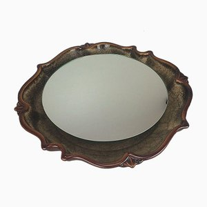 Space Age Ceramic Pan Illuminated Wall Mirror, 1970s