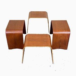 Mid-Century Teak Model 4515 Stools by Hans Ludvigsen for Fritz Hansen, Set of 4