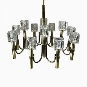 Large Modernist Cubist Ice Cube Chandelier by Gaetano Sciolari for Sciolari