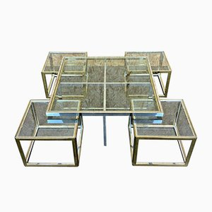 Grande Table Basse et Tables Gigognes Vintage en Chrome et en Laiton de Maison Charles, Set de 5