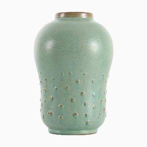 Große Skandinavische Keramik Kürbis Vase mit Reliefpunkten von Ewald Dahlskog für Bo Fajans, 1960er