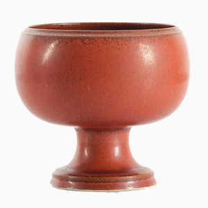 Scandinavian Footed Bowl in Red-Brown Glaze by Stig Lindberg for Gustavsberg, 1979