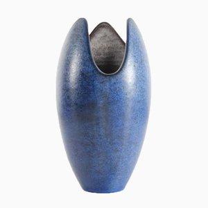 Vase Undine Scandinave avec Verni Bleu Moucheté & Intérieur Gris par Hjördis Oldfors pour Upsala Ekeby, 1950s