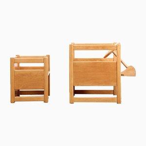 Mesa infantil escandinava reversible con silla de Kay Bojesen, años 30. Juego de 2