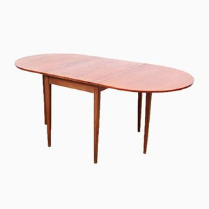 Mid-Century Modern Scandinavian Teak and Oak Flap Dining Table, 1960s