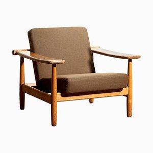 Oak Lounge Chair, Denmark, 1960s