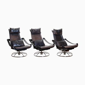 Leather Swivel Chairs by Ake Fribytter for Nelo, Sweden, 1970s, Set of 3