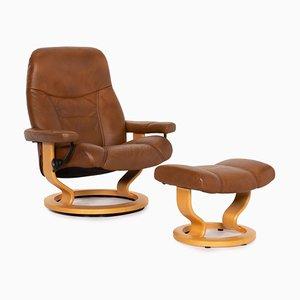 Butaca cónsola Relax Relax de cuero marrón y taburete de Kein Designer para Stressless. Juego de 2