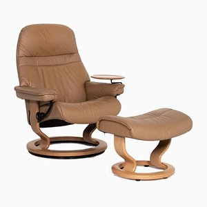 Light Brown Leather Sunrise Relax Function Armchair from Stressless
