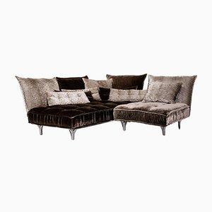 Grey-Brown Velvet Ohlinda Corner Sofa from Bretz