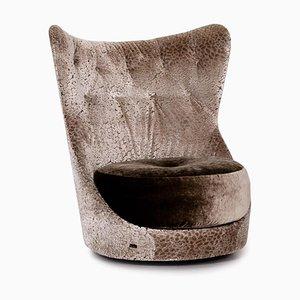 Silberner Cocoa Island Sessel mit Samtbezug von Bretz