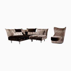 Grey Brown Velvet Ohlinda & Cocoa Island Corner Sofa and Armchair from Bretz, Set of 2