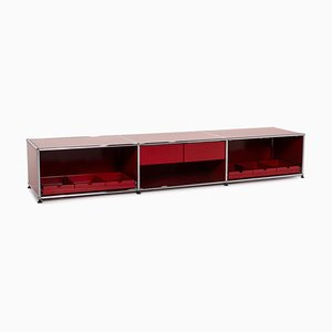 Modulares Rotes Metall Büro Sideboard von USM Haller