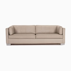 Grey Beige Leather 2-Seat Sofa from Brühl & Sippold
