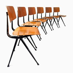 Dutch Industrial Result School Chairs by Friso Kramer for Ahrend De Cirkel, 1950s, Set of 8