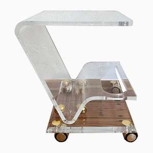 Italian Bar Cart with Plexiglass Frame on Wheels, 1950s