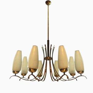 Lámpara de araña italiana vintage de latón y vidrio opalino