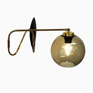 Wall Lamp on a Brass Arm with Glass Dome from Høvik Verk, Norway, 1950s