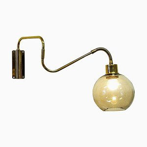 Wall Lamp on Brass Arm with Glass Dome from T. Røste & Co, Norway, 1960s