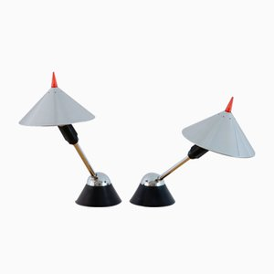 Postmodern Aluminium and Rubber Table Lamps, 1980s, Set of 2