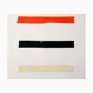 Grabado Aguatinta roja, negra y blanca de José Pedro Croft
