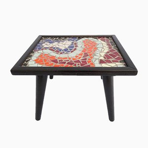 Black Flower Stool with Mosaic, 1960s