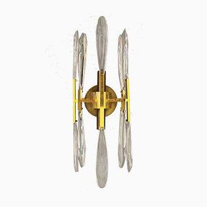 Italian Brass and Crystal Glass Sconces by Gaetano Sciolari, 1960s, Set of 2