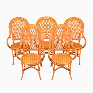 Vintage Bamboo Dining Chairs, 1970s, Set of 4