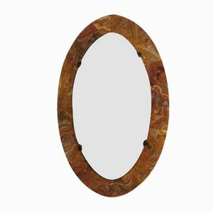 Mid-Century Oval Marble Wall Mirror, 1950s