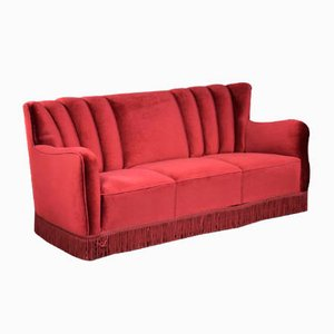 Danish Red Velour Sofa, 1950s