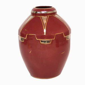 Art Deco French Hand Painted Vase, 1920s