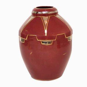 Handbemalte französische Art Deco Vase, 1920er