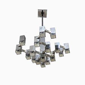 Lámpara de araña italiana cúbica de Gaetano Sciolari para Sciolari, años 70