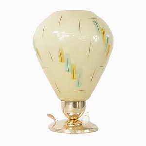 German Glass and Rockabilly Table Lamp, 1950s