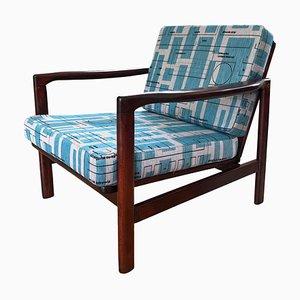 Blue Jacquard B-7752 Lounge Chair by Zenon Bączyk for Swarzędzkie Fabryki Mebli, 1960s