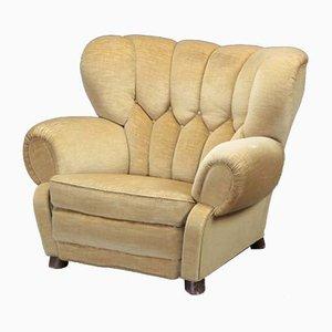 Danish Golden Velour Lounge Chair, 1940s