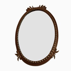 Large Antique Oval Beveled Wall Mirror