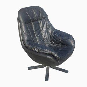 Vintage Danish Black Leather Swivel Chair