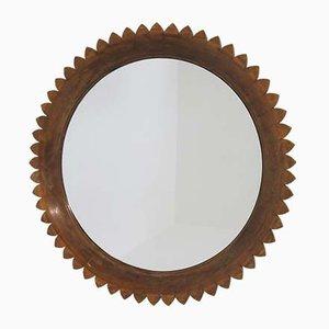 Mid-Century Italian Round Walnut Wall Mirror by Marelli Fratelli, 1950s