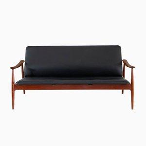 Mid-Century Teak and Black Leather Model 138 Sofa by Finn Juhl, 1960s