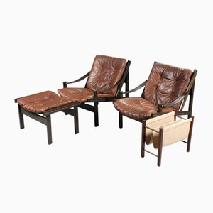 Lounge Chairs and Footstool Set by Torbjørn Afdal, 1960s