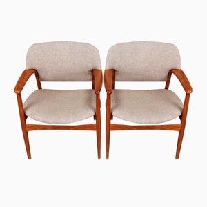 Chaises de Salon en Teck Massif par AB Madsen & E. Larsen pour Fritz Hansen, 1950s, Set de 4