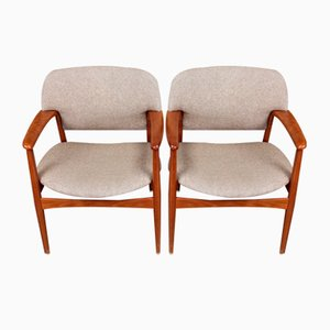 Solid Teak Dining Chairs by A.B. Madsen & E. Larsen for Fritz Hansen, 1950s, Set of 4