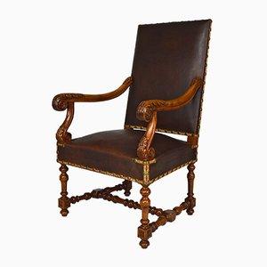 Grande Chaise de Bureau Antique Style Louis XIII en Cuir et Noyer Sculpté, 1860s