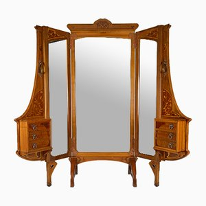 Art Nouveau French Cheval Mirror Room Divider from Krieger, 1900s